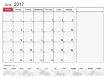Calendar Planner June 2017. 2017 Calendar Planner Design, June 2017 year vector calendar design Stock Photography