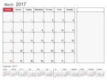 Calendar Planner March 2017. 2017 Calendar Planner Design, March 2017 year vector calendar design Royalty Free Stock Photo