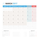 Calendar Planner for March 2017 Vector Design Template Stationary. Week Starts Monday Royalty Free Stock Image
