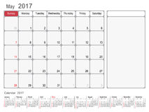 Calendar Planner May 2017. 2017 Calendar Planner Design, May 2017 year vector calendar design Stock Photography