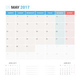 Calendar Planner for May 2017 Vector Design Template Stationary. Week Starts Monday Stock Image