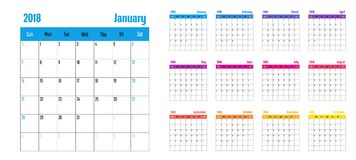 2018 Calendar Planner Memo Template. 2018 Calendar Planner Memo Vector Illustration Simple Clear With CMYK Color Theme Week Start from Sunday Royalty Free Stock Photo