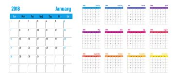 2018 Calendar Planner Memo Template. 2018 Calendar Planner Memo Vector Illustration Simple Clear With CMYK Color Theme Week Start from Sunday Stock Photography