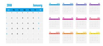 2018 Calendar Planner Memo Template. 2018 Calendar Planner Memo Vector Illustration Simple Clear With CMYK Color Theme Week Start from Sunday Royalty Free Stock Photography