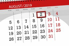 Calendar planner for the month, deadline day of the week 2019 august, 2, Friday.  stock photos
