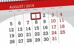 Calendar planner for the month, deadline day of the week 2019 august, 1, Thursday.  stock photo