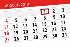 Calendar planner for the month, deadline day of the week 2019 august, 1, Thursday.  royalty free stock images