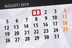 Calendar planner for the month, deadline day of the week 2019 august, 1, Thursday.  stock photos