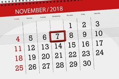 Calendar planner for the month, deadline day of the week 2018 november, 7, Wednesday stock images