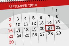 Calendar planner for the month, deadline day of the week, 2018 september, 21, Friday. Calendar planner for the month, deadline day of the week 2018 september, 21 stock photo