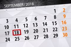 Calendar planner for the month, deadline day of the week, 2018 september, 18, Tuesday. Calendar planner for the month, deadline day of the week 2018 september royalty free stock photography