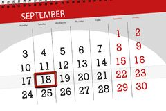 Calendar planner for the month, deadline day of the week, 2018 september, 18, Tuesday. Calendar planner for the month, deadline day of the week 2018 september stock image