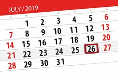 Calendar planner for the month july 2019, deadline day, 26 friday.  stock images