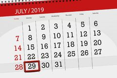 Calendar planner for the month july 2019, deadline day, 29 monday.  royalty free stock image