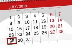 Calendar planner for the month july 2019, deadline day, 29 monday.  stock photography