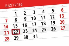 Calendar planner for the month july 2019, deadline day, 22 monday.  royalty free stock image