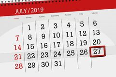 Calendar planner for the month july 2019, deadline day, 27 saturday.  royalty free stock image