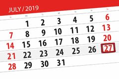 Calendar planner for the month july 2019, deadline day, 27 saturday.  stock photos