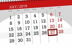 Calendar planner for the month july 2019, deadline day, 27 saturday.  stock photography