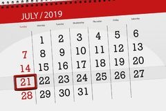 Calendar planner for the month july 2019, deadline day, 21 sunday.  stock photo