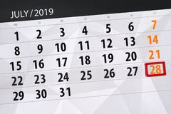 Calendar planner for the month july 2019, deadline day, 28 sunday.  stock images