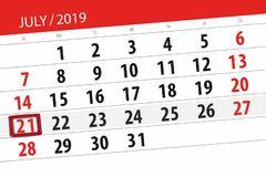 Calendar planner for the month july 2019, deadline day, 21 sunday.  stock images