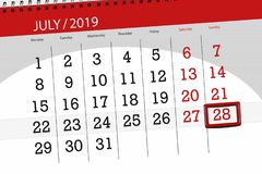 Calendar planner for the month july 2019, deadline day, 28 sunday.  royalty free stock photo