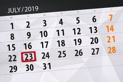 Calendar planner for the month july 2019, deadline day, 23 tuesday.  stock image