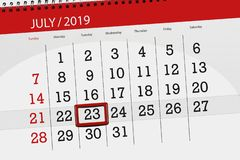 Calendar planner for the month july 2019, deadline day, 23 tuesday.  stock photos