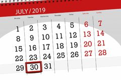 Calendar planner for the month july 2019, deadline day, 30 tuesday.  royalty free stock photo