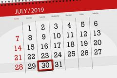 Calendar planner for the month july 2019, deadline day, 30 tuesday.  stock images