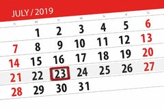 Calendar planner for the month july 2019, deadline day, 23 tuesday.  royalty free stock photos