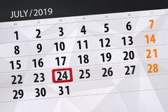 Calendar planner for the month july 2019, deadline day, 24 wednesday.  royalty free stock images