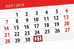 Calendar planner for the month july 2019, deadline day, 31 wednesday.  royalty free stock images