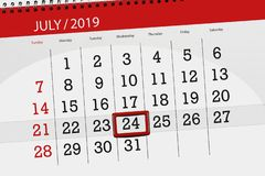 Calendar planner for the month july 2019, deadline day, 24 wednesday.  stock images