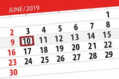 Calendar june 2019, 10, monday royalty free stock photos