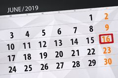 Calendar june 2019, 16, sunday stock photos