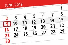 Calendar june 2019, 9, sunday royalty free stock images