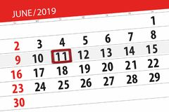 Calendar june 2019, 11, tuesday royalty free stock images
