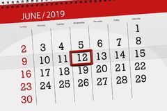 Calendar planner for month june 2019, deadline day, 12, wednesday royalty free stock photos