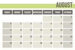 Calendar planner 2019. Monthly planner. August. royalty free illustration