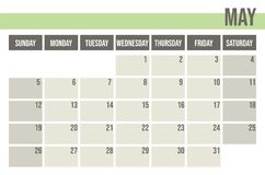 Calendar planner 2019. Monthly planner. May. vector illustration