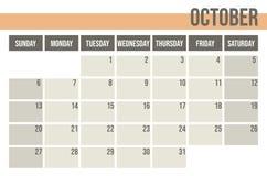 Calendar planner 2019. Monthly planner. October. royalty free illustration