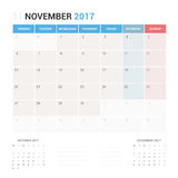 Calendar Planner for November 2017 Vector Design Template Stationary. Calendar Planner for January 2017 Vector Design Template Stationary. Week Starts Monday Royalty Free Stock Images