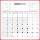 Calendar Planner for October 2017 Vector Design Template Stationary. Week Starts Monday Stock Image