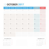 Calendar Planner for October 2017 Vector Design Template Stationary. Week Starts Monday Royalty Free Stock Image