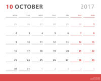 Calendar planner 2017 october, week starts monday, vector design template Stock Photography