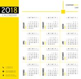 2018 calendar, planner, organizer and schedule template for companies and private use. Yellow, white and black design Stock Photos