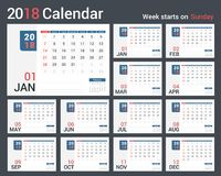 2018 Calendar Royalty Free Stock Image