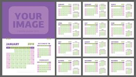 2019 calendar planner. Purple and olive color calender template. Week starts on Sunday. Business company planning Royalty Free Stock Images